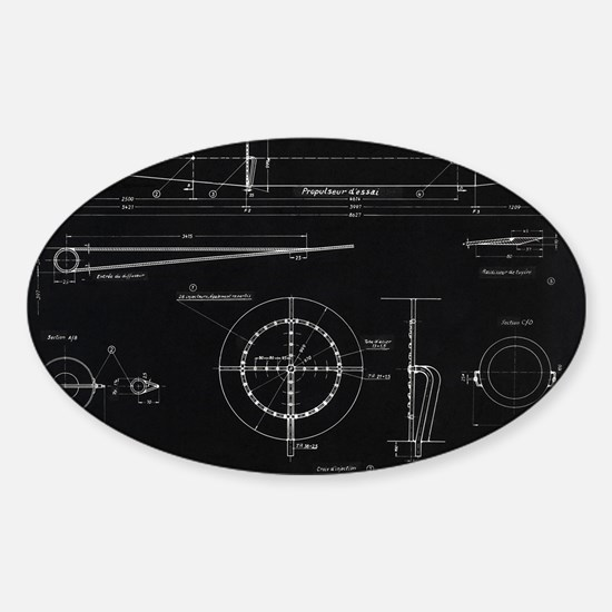 German WWII ramjet engine blueprint Sticker (Oval)