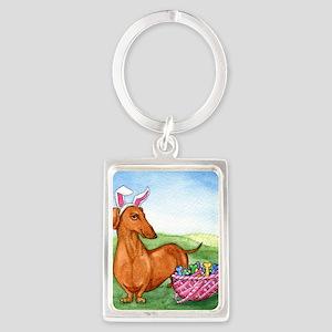 Easter Wiener Dog Portrait Keychain