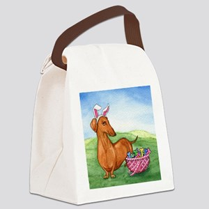Easter Wiener Dog Canvas Lunch Bag
