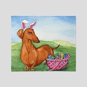 Easter Wiener Dog Throw Blanket