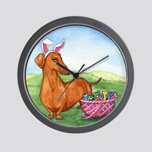Easter Wiener Dog Wall Clock