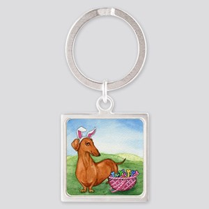 Easter Wiener Dog Square Keychain