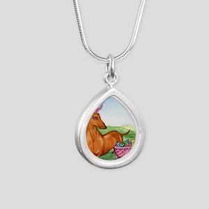 Easter Wiener Dog Silver Teardrop Necklace