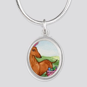 Easter Wiener Dog Silver Oval Necklace