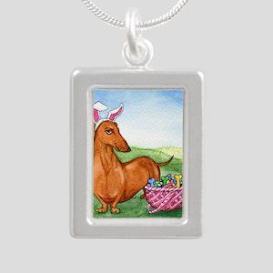 Easter Wiener Dog Silver Portrait Necklace