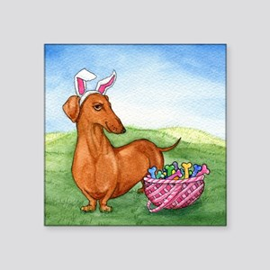 "Easter Wiener Dog Square Sticker 3"" x 3"""
