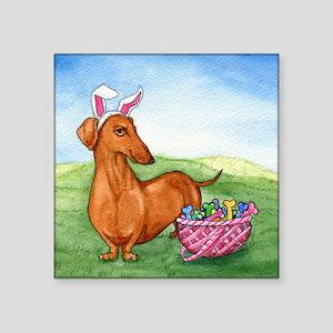 "Easter Wiener Dog Square Sticker 3"" x 3"""