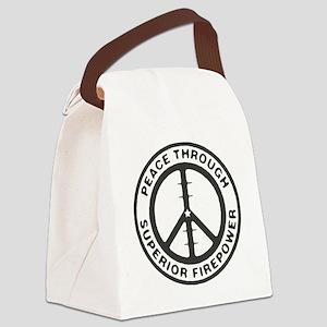 Peace through Superior Firepower Canvas Lunch Bag