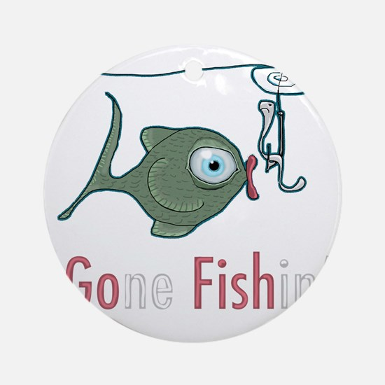 Funny Fishing Round Ornament