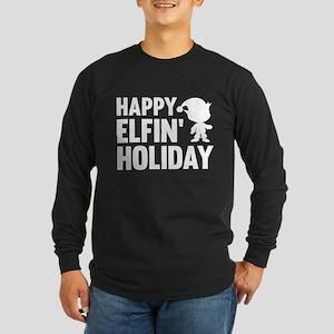 Happy Elfin' Holiday Long Sleeve Dark T-Shirt