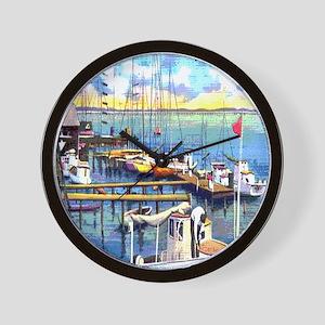 Vintage Biloxi Shrimp Oyster Boat Postc Wall Clock