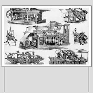 19th Century Printing Machines Yard Sign