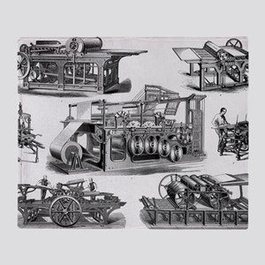 19th Century Printing Machines Throw Blanket