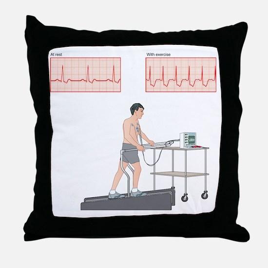 Cardiac stress test, artwork Throw Pillow