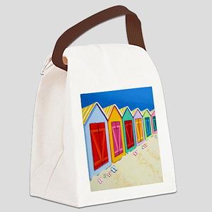 Colorful Beach Cabana Hut Canvas Lunch Bag