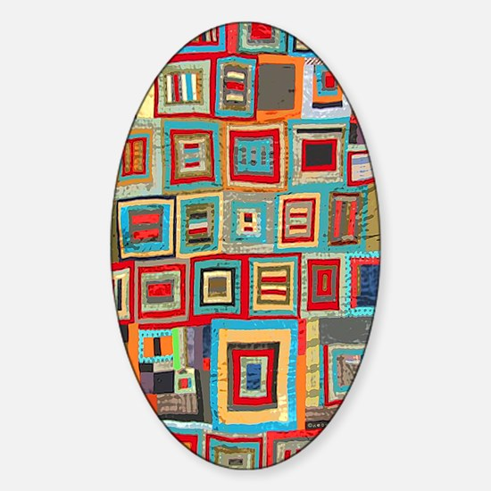 Colorful Crazy Quilt Flip Flops Sticker (Oval)