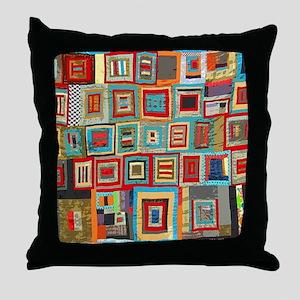Colorful Crazy Quilt Flip Flops Throw Pillow