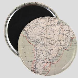 Darwin's Beagle Voyage Map South America Magnet