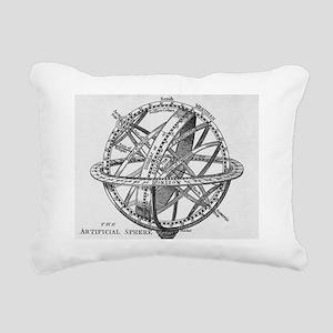 Drawing of an armillary  Rectangular Canvas Pillow