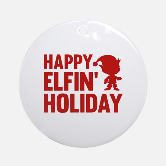 Happy Elfin' Holiday Ornament (Round)