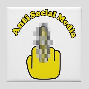 Anti Social Media Finger Tile Coaster