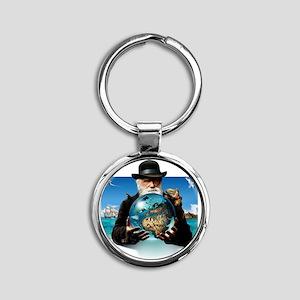 Charles Darwin, British naturalist Round Keychain