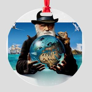Charles Darwin, British naturalist Round Ornament
