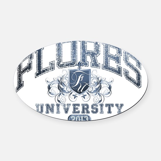 Flores last name University Class  Oval Car Magnet