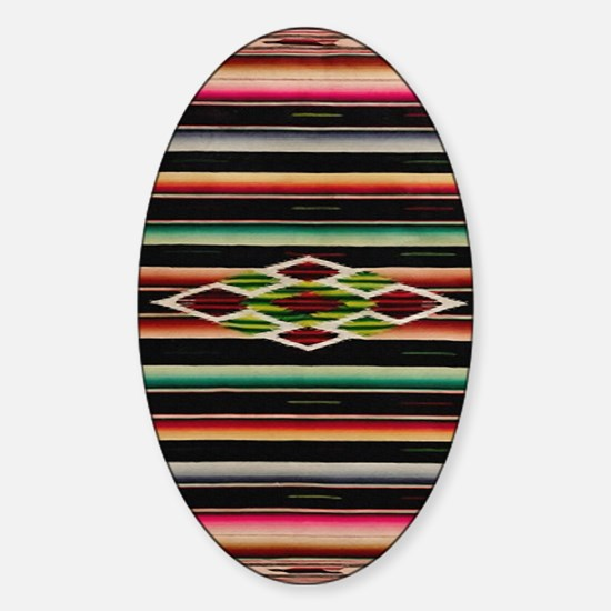 Vintage Black Mexican Serape Sticker (Oval)