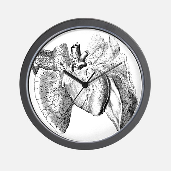Heart and lung anatomy, 17th century Wall Clock