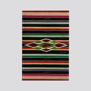 Vintage Black Mexican Serape Rectangle Magnet