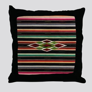 Vintage Black Mexican Serape Throw Pillow