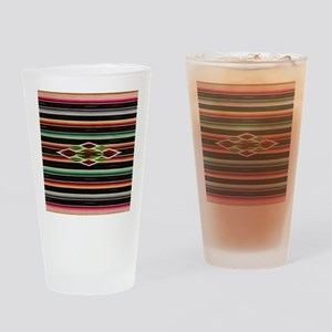 Vintage Black Mexican Serape Drinking Glass
