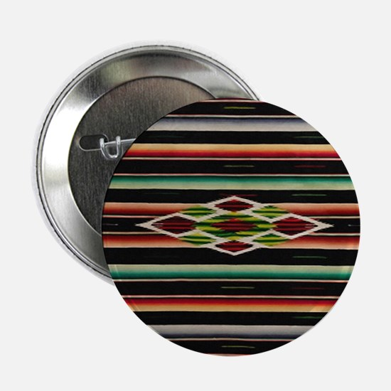 "Vintage Black Mexican Serape 2.25"" Button"