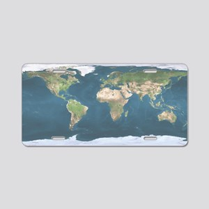 World  Map Aluminum License Plate