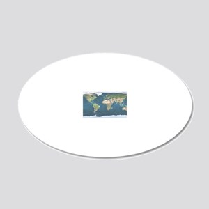 World  Map 20x12 Oval Wall Decal