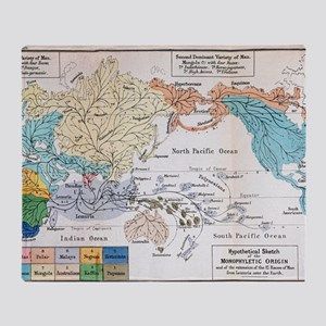 Ernst Haeckel Map Lemuria Human Orig Throw Blanket