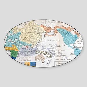 Ernst Haeckel Map Lemuria Human Ori Sticker (Oval)