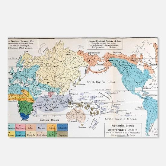 Ernst Haeckel Map Lemuria Postcards (Package of 8)