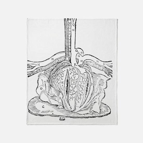 Heart anatomy, 16th century Throw Blanket