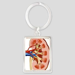 Kidney anatomy, artwork Portrait Keychain