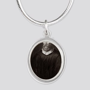 John Knox, Scottish theologia Silver Oval Necklace