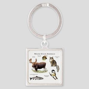 Maine State Animals Square Keychain