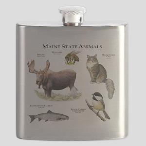 Maine State Animals Flask