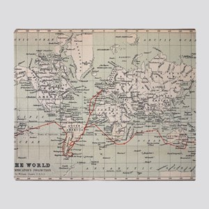 Map Darwin's Beagle Voyage South Ame Throw Blanket