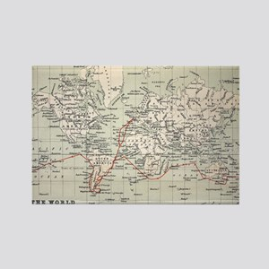 Map Darwin's Beagle Voyage South  Rectangle Magnet