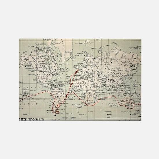 Map Darwin's Beagle Voyage South  Rectangle Magnet