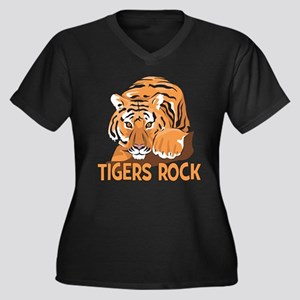 Tigers Rock Women's Plus Size V-Neck Dark T-Shirt
