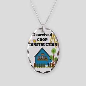 Survived Construction Necklace Oval Charm