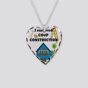 Survived Construction Necklace Heart Charm